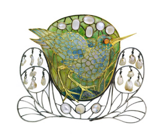Enamel, pearl, and moonstone marsh bird brooch by Charles Robert Ashbee