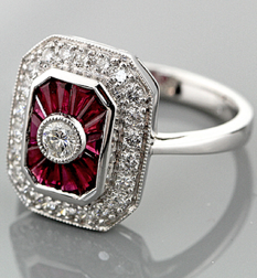 Ruby and diamond ring by Engagement Rings Direct