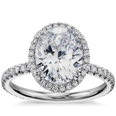 Oval cut heiress halo diamond engagement ring set in platinum at Blue Nile