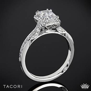Tacori Dantela crown for emerald diamond engagement ring in 18K white gold at Whiteflash