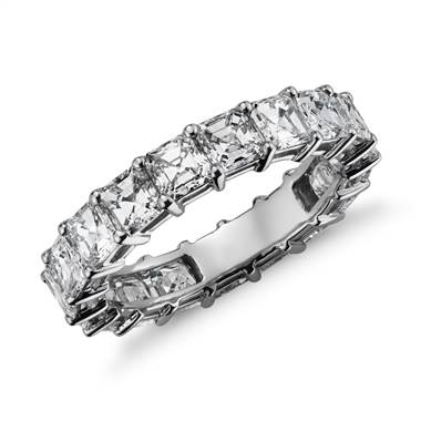 Asscher cut diamond eternity ring set in platinum at Blue Nile