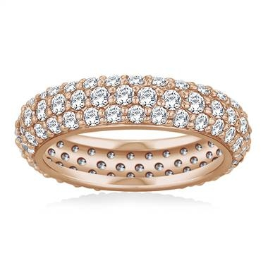 Pave set rounded diamond eternity ring set in 18K rose gold at B2C Jewels