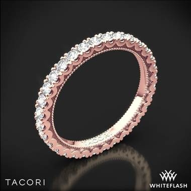 Top: Rose gold clean crescent eternity diamond wedding band set in 18K rose gold at Whiteflash