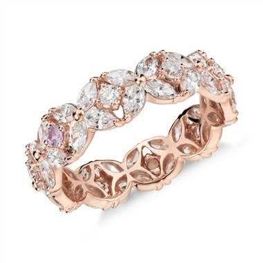 Monique Lhuillier Petal Garland Diamond Eternity Ring set in 18k Rose Gold at Blue Nile