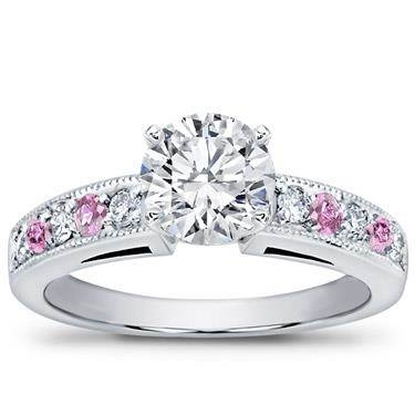 Milgrain and pave pink sapphire engagement setting at Adiamor