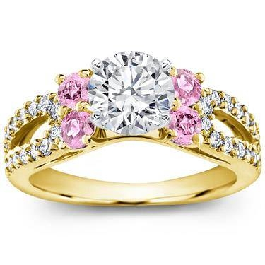 Pink sapphire and pave engagement setting at Adiamor