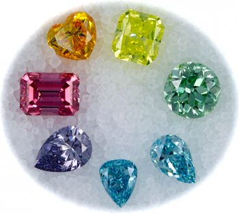 Orange diamond, yellow diamond, green diamond, blue diamond, pink diamond