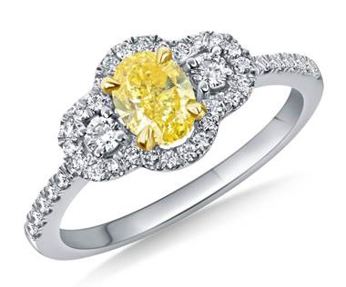 Fancy Intense Yellow Oval Cut Diamond Halo Ring Crafted in 18K Two Tone Gold(1 1/10 cttw.)