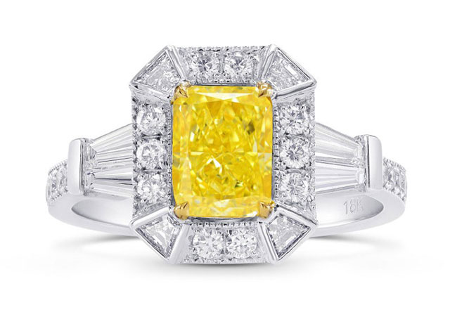 Leibish & Co. - Black Friday Sale on Fancy Intense Yellow Radiant Diamond Ring