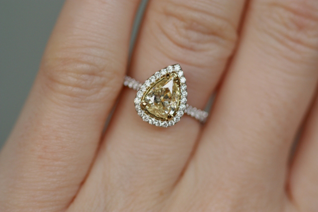 Fancy Light Yellow Diamond Halo Ring