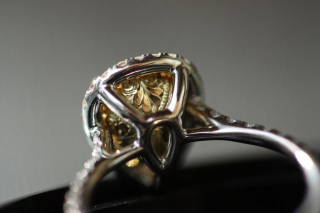 Fancy Light Yellow Diamond Halo Ring, Under Gallery