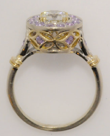 Finished Diamond and Purple Sapphire Ring Profile