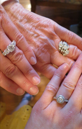 5 generations of wedding rings shared by Bonfire