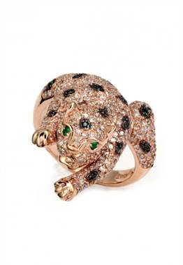 Signature 14K rose gold diamond and emerald ring at EFFY