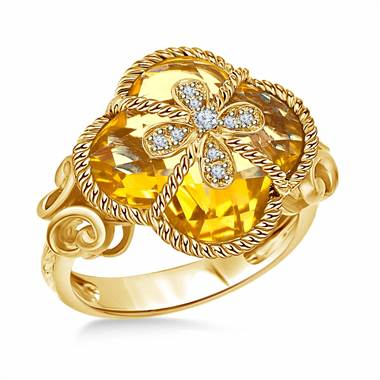 CusClover citrine and diamond cocktail ring in 14K yellow gold at B2C Jewels