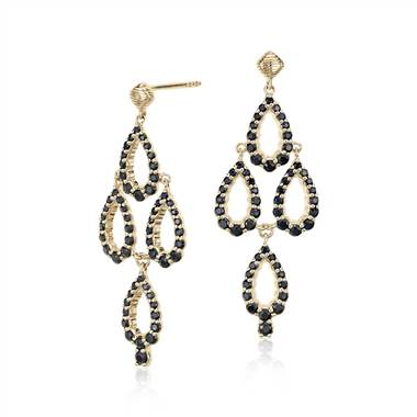 Frances Gadbois Black Sapphire Chandelier Earrings in 14k Yellow Gold