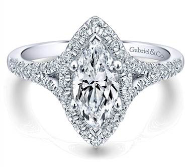 Gabriel & Co. 14k White Gold Diamond Halo Engagement Ring