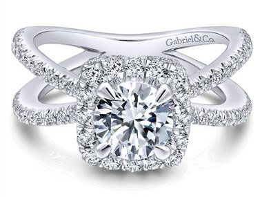 Gabriel & Co. 14k White Gold Diamond Split Shank Engagement Ring