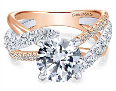 Gabriel & Co. 14k White/pink Gold Diamond Free Form Engagement Ring