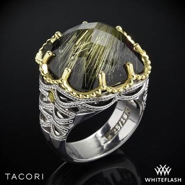 Black lightning rutilated quartz over black onyx ring set in sterling silver with 18K yellow gold accents at Whiteflash