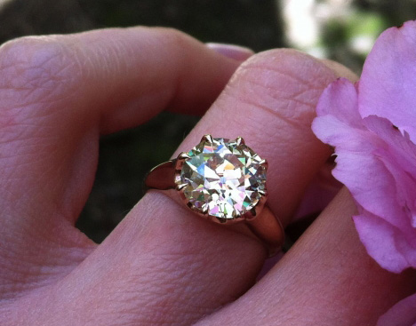 Old European Cut Diamond in Rose Gold Antique Style Ring