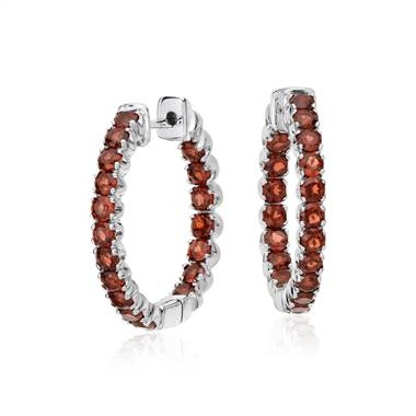 Garnet hoop earrings in sterling silver at Blue Nile