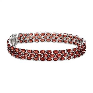 Trio oval garnet bracelet in sterling silver at Blue Nile