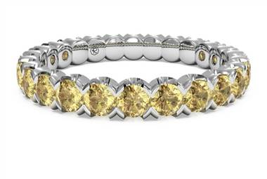 Yellow sapphire stackable ring at set in palladium at Ritani