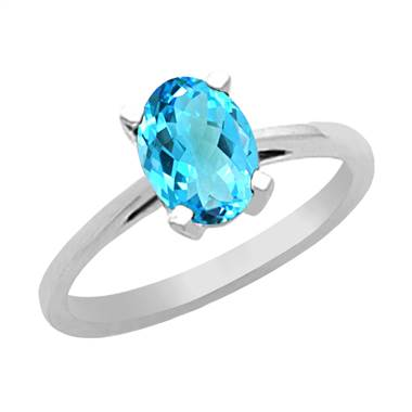 Genuine blue topaz set in 14K white gold at B2C Jewels