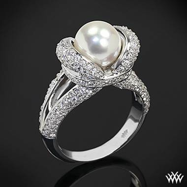Pearl and diamond right hand ring set in 18K white gold at Whiteflash