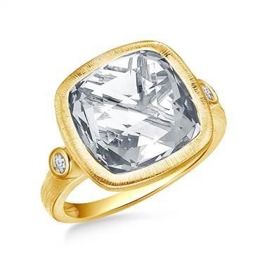 White topaz cushion cut gemstone and diamond bezel ring set in 14K yellow gold at B2C Jewels
