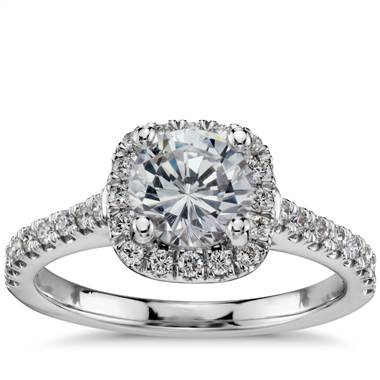 Cushion halo diamond engagement ring setting in white gold at Blue Nile