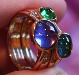 Cabochon and Diamond Stacking Rings
