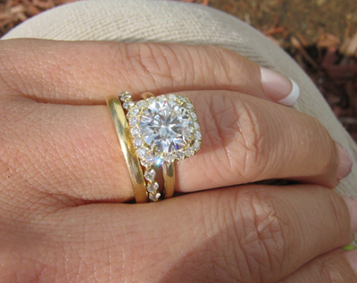 Halo diamond ring with wedding bands