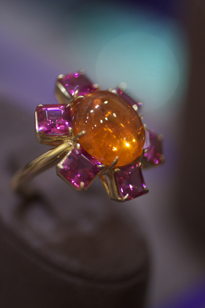 Goshwara Spessartite garnet cabochon and rubellite tourmaline ring