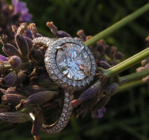 Halo diamond ring by Leon Megé