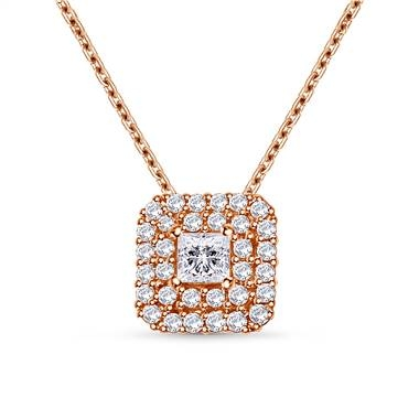 Double halo princess cut diamond pendant in 14K rose gold at B2C Jewels