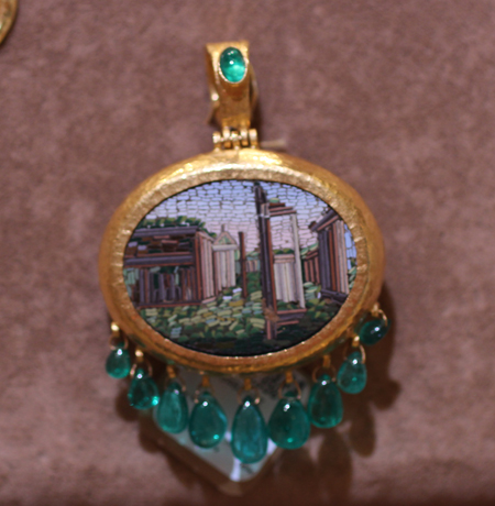 24k gold micro mosaic pendant with emeralds Gurhan Couture 2011