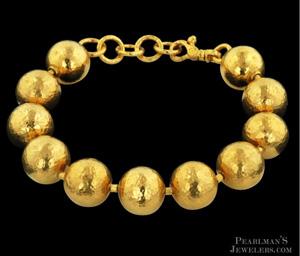 Gurhan 24k yellow gold hammered ball bracelet