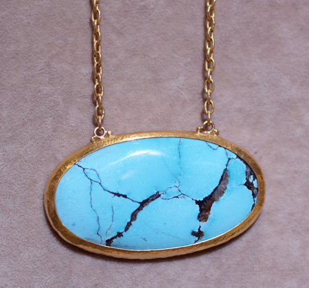 24k gold turquoise pendant Gurhan Couture 2011