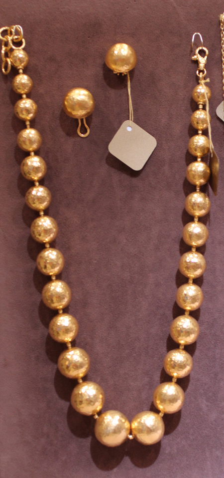 24k gold ball necklace and earrings Gurhan Couture 2011