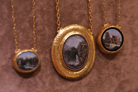24k gold micro-mosaic pendants Gurhan Couture 2011