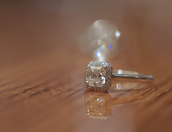 Asscher cut diamond halo ring