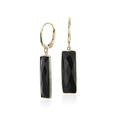 Black onyx rectangle leverback drop earrings set in 14K yellow gold at Blue Nile