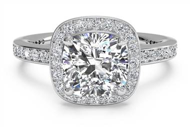 Halo Micropave Diamond Band Engagement Ring - in 18kt White Gold - (0.28 CTW)