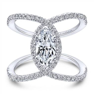 White gold diamond halo engagement ring in 14K white gold at Gabriel & Co.