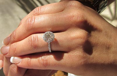 Hand shot of Harry Winston Inspired Engagement Ring