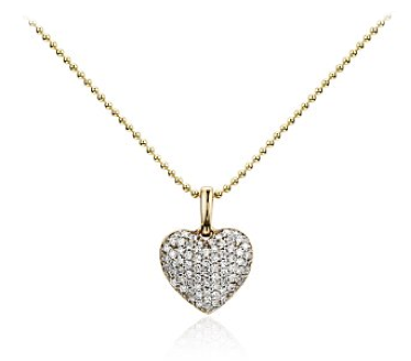 Pave diamond heart pendant from Blue Nile