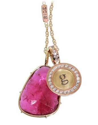 Tourmaline and initial diamond charm necklace by Heather Moore