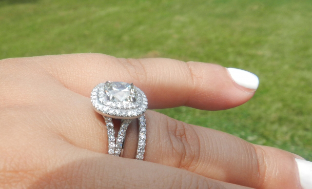 Victor Canera Double-Halo Diamond Engagement Ring